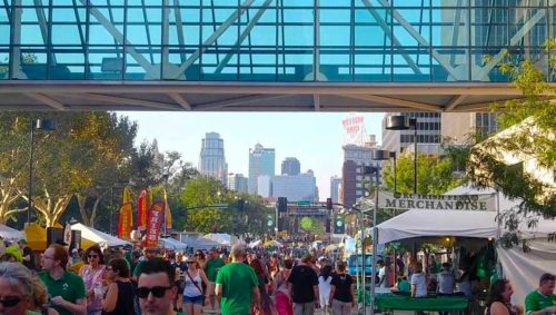 Picture of people in green walking around Crown Center during Irish Fest.