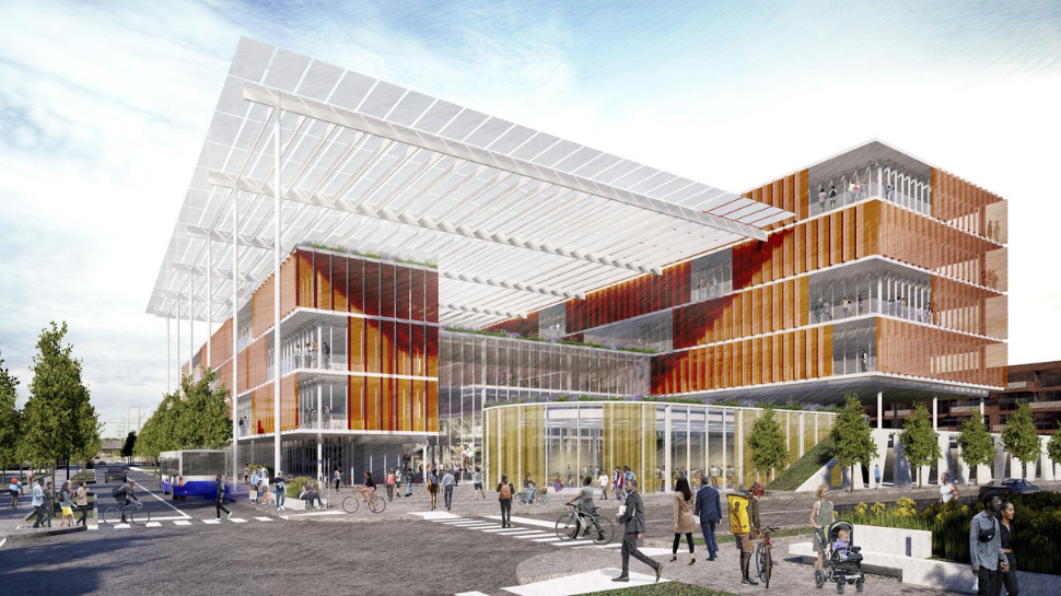 The rendering shows a modern-looking multi-story building, which will be the future office.