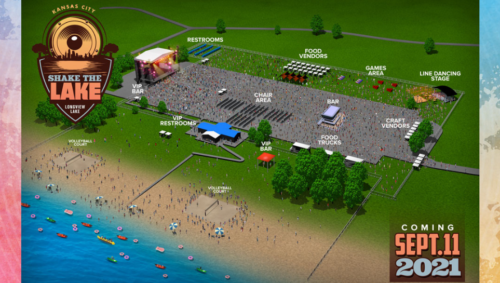 A full map of the Shake the Lake festival shows where restrooms, bars, food vendors, game areas and more can be found at the event.