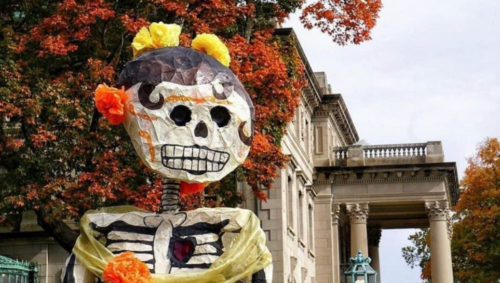 Picture of Day of the Dead decoration near Kansas City Museum