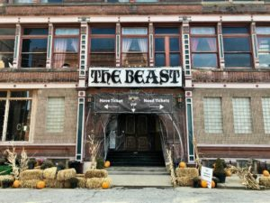 Photo of The Beast's street entrance in Kansas City's Historic West Bottoms.
